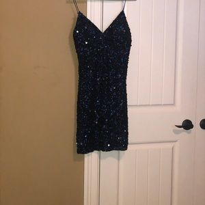Navy sequins party dress